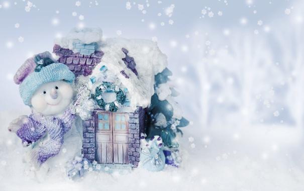 Фото обои новый год, рождество, winter, snow, snowman
