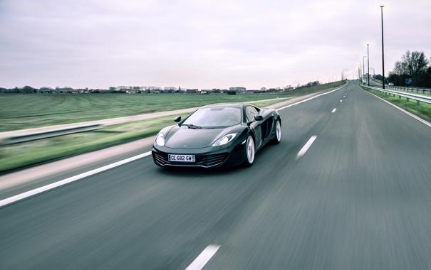 Фото обои дорога, разметка, чёрный, McLaren, скорость, black, MP4-12C