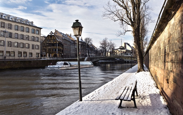 Фото обои зима, канал, strasbourg