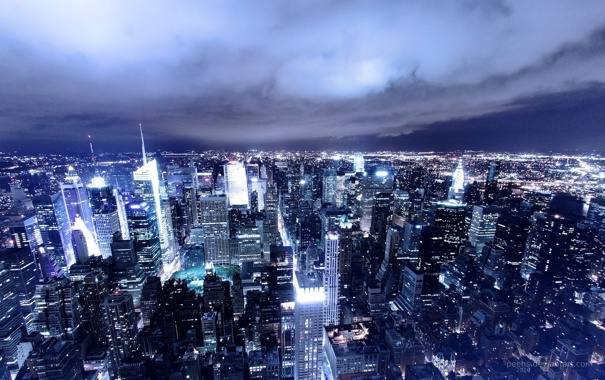 Фото обои ночь, огни, небоскребы, Америка