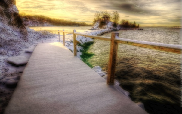 Фото обои зима, снег, пейзаж, природа, вид, HDR, hdr