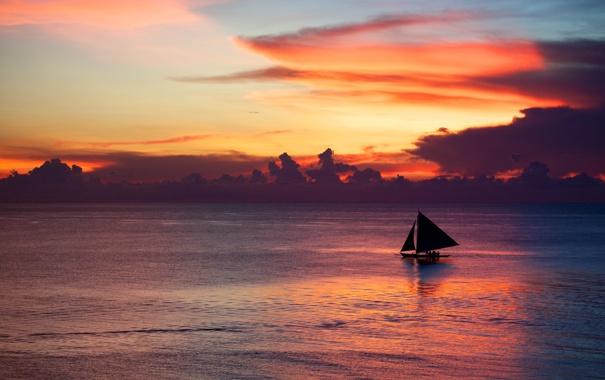 Фото обои море, небо, облака, пейзаж, закат, парусник