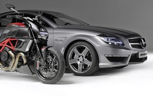 Фото обои машина, Mercedes-Benz, мотоцикл, байк, мерседес, AMG, передок