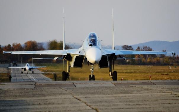 Фото обои истребитель, аэродром, многоцелевой, двухместный, Су-30М2