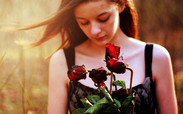 Фото обои девушка, цветы, настроение, розы