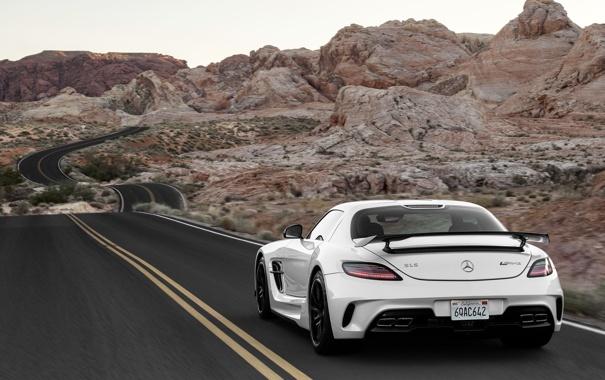Фото обои Mercedes-Benz, Дорога, Скалы, Белый, Пустыня, AMG, SLS