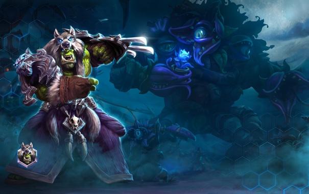 Фото обои орк, wow, world of warcraft, шаман, orc, shaman, heroes of the storm