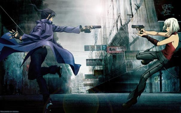 Фото обои город, пистолет, оружие, девушки, битва, Canaan