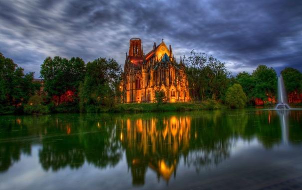 Фото обои деревья, пруд, парк, Германия, собор, фонтан, germany