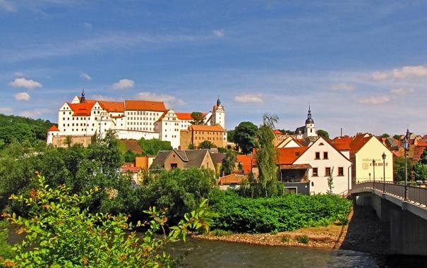 Фото обои мост, город, река, фото, дома, Германия, Кольдиц