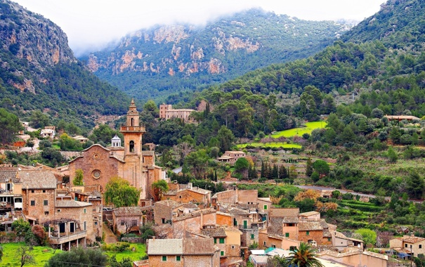 Фото обои горы, здания, дома, панорама, Испания, Spain, Balearic Islands