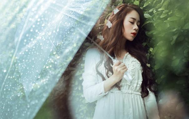 Фото обои девушка, дождь, настроение, зонт