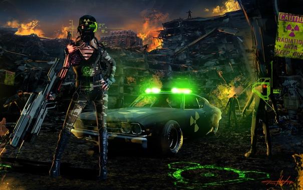 Фото обои машина, девушка, город, оружие, фантастика, огонь, полиция
