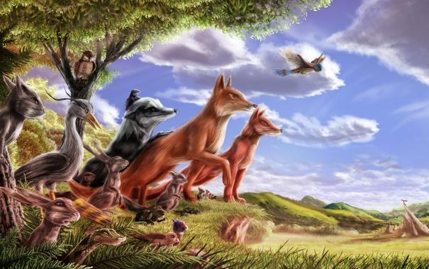 Фото обои лес, животные, деревья, скала, сова, птица, заяц