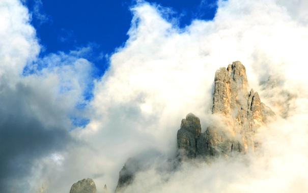 Фото обои небо, пейзаж, горы, облачно
