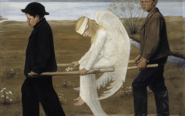 Фото обои крылья, Картина, живопись, раненый ангел
