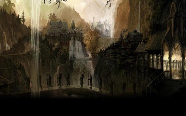 Фото обои горы, мост, природа, город, эльфы, водопады, the lord of the rings