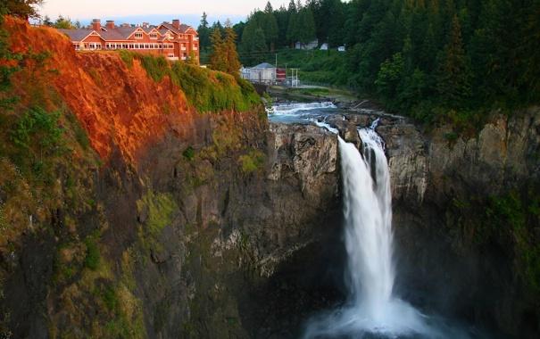 Фото обои лес, деревья, скала, водопад, USA, США, waterfalls