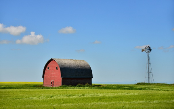 Фото обои поле, лето, небо, облака, ветряк, Канада, Альберта