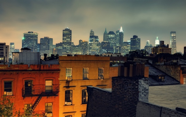 Фото обои ночь, огни, нью-йорк, night, New York City, usa, nyc