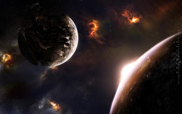 Фото обои армагеддон, звезды, свет, планеты, разрушение