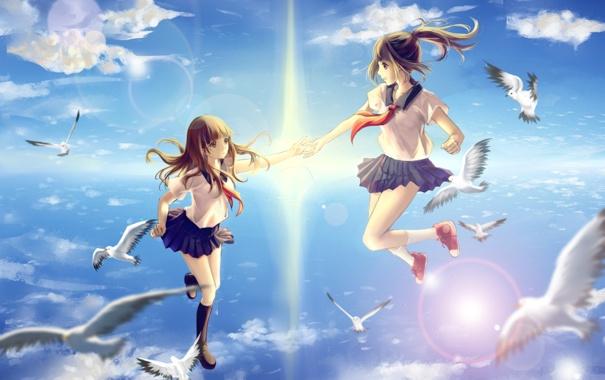 Фото обои небо, солнце, облака, птицы, девушки, аниме, арт