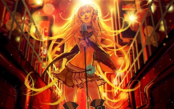 Фото обои девушка, свет, аниме, арт, микрофон, vocaloid, lily