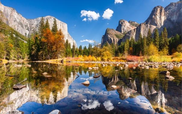 Фото обои осень, лес, деревья, горы, озеро, река, камни
