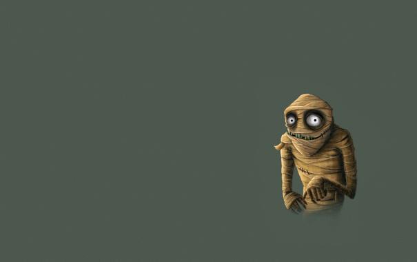 Фото обои монстр, бинты, Mummy, мумия, минимализм
