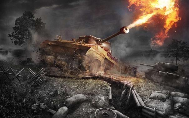 Фото обои Окоп, World of Tanks: Xbox 360 Edition, Выстрел, Wargaming Net, Танки, Ствол, Огонь