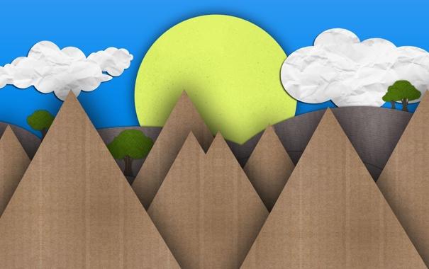 Фото обои лето, солнце, деревья, горы, день, картон, mountains