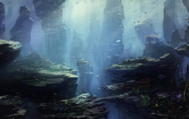 Фото обои пузырьки, под водой, скалы, риф, подводный мир, море