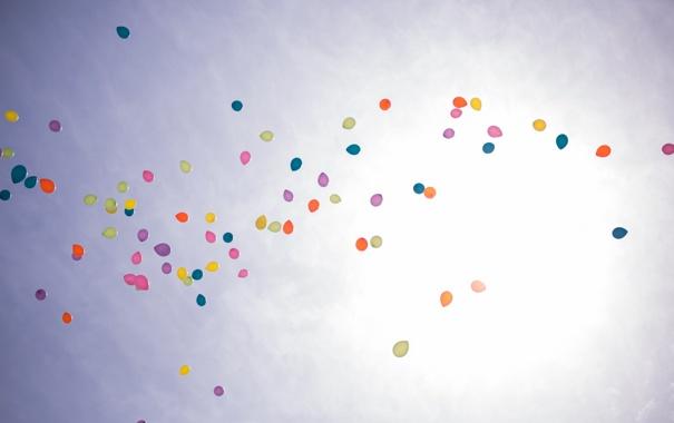 Фото обои небо, солнце, счастье, цветы, воздушные шары