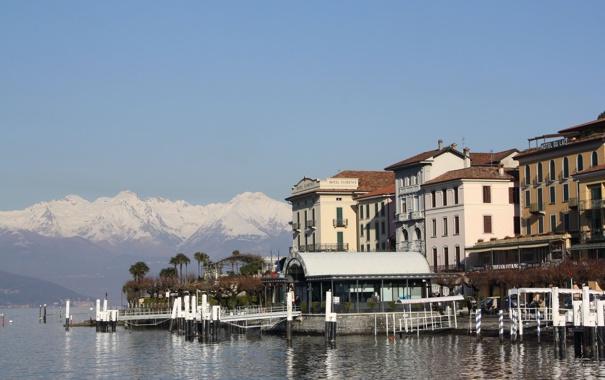 Фото обои небо, горы, город, фото, дома, горизонт, Италия