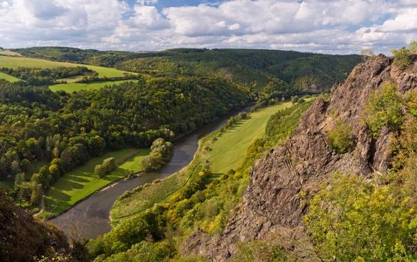 Фото обои лес, пейзаж, природа, река, фото, скалы, чехия