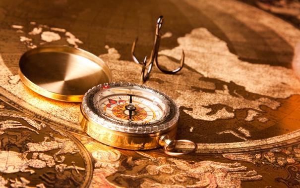 Фото обои карта, компас, континенты