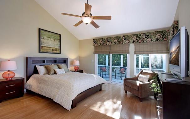 Фото обои стиль, кровать, кресло, люстра, штора, спальня