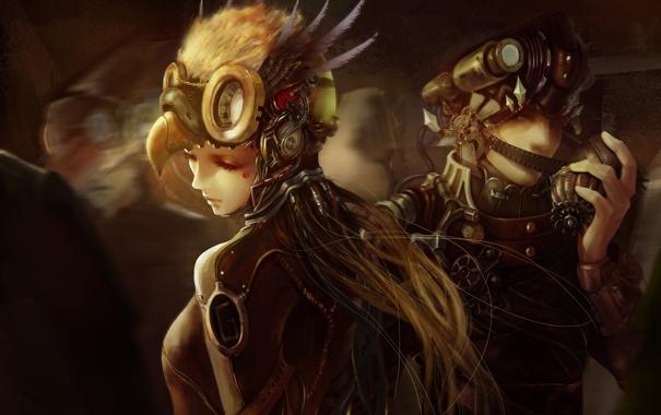 Фото обои девушка, механизм, клюв, арт, стимпанк, шлем, парень