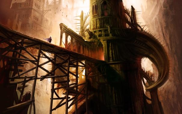 Фото обои птицы, мост, башня, высота, арт, шипы, путник