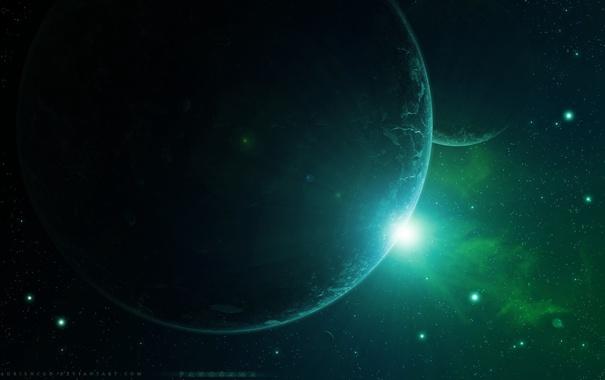Фото обои космос, звезды, планеты, арт, space, art, planets