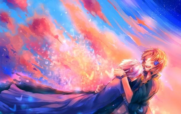 Фото обои небо, облака, закат, птицы, аниме, арт, парни