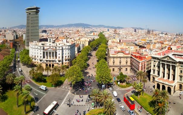 Фото обои деревья, дороги, дома, площадь, Испания, вид сверху, Барселона