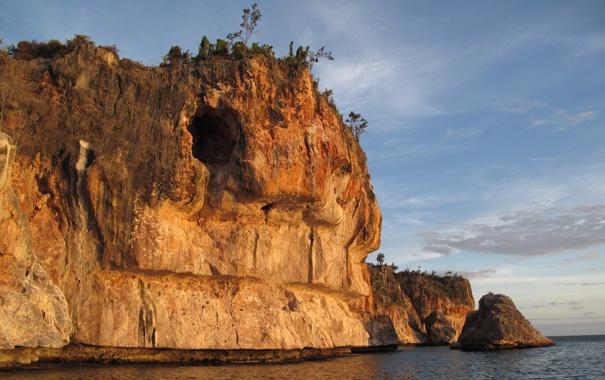 Фото обои горы, океан, побережье, склон, пещера