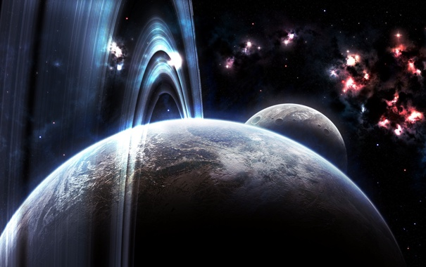 Фото обои атмосфера, планета, кольца, nebula, кратеры, луна