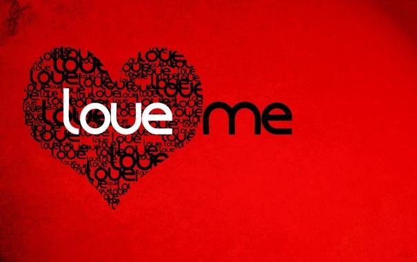 Фото обои Любовь, Сердце, Красный фон, Love me