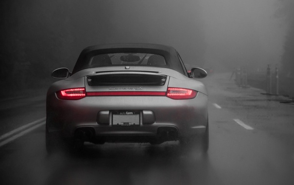 Фото обои Light, Carrera, Rain, Cabrio, Silver, Fog, Porsche 997.2