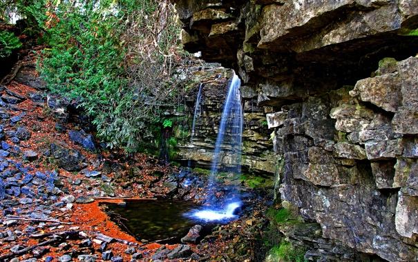 Фото обои ручей, камни, скалы, водопад
