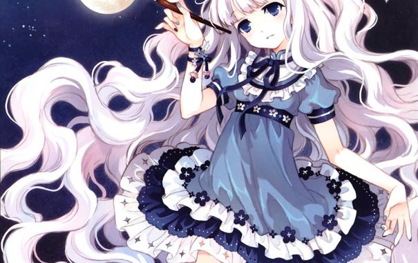 Фото обои небо, девушка, звезды, цветы, волосы, планета, аниме