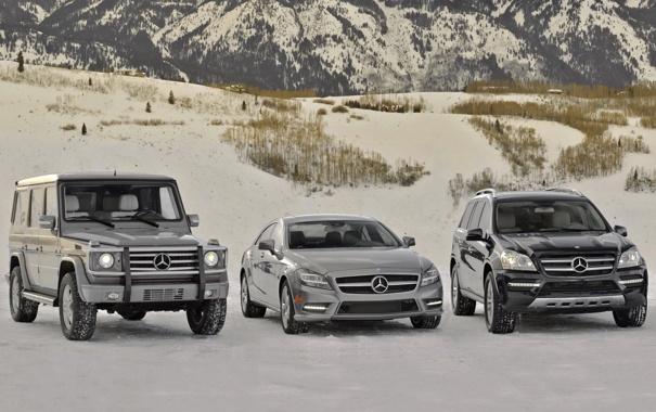 Фото обои снег, горы, mercedes-benz, мерседес, mixed, cls-klasse, модельный ряд