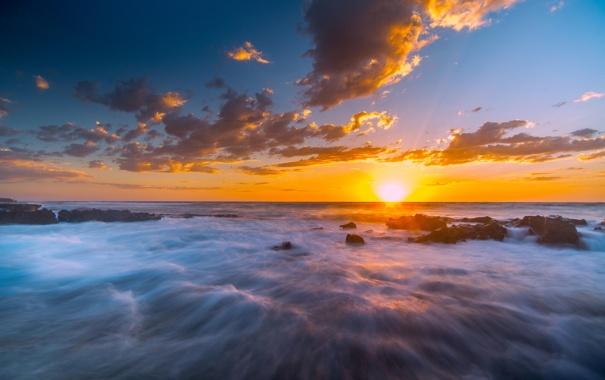 Фото обои солнце, камни, океан, скалы, рассвет, берег, горизонт